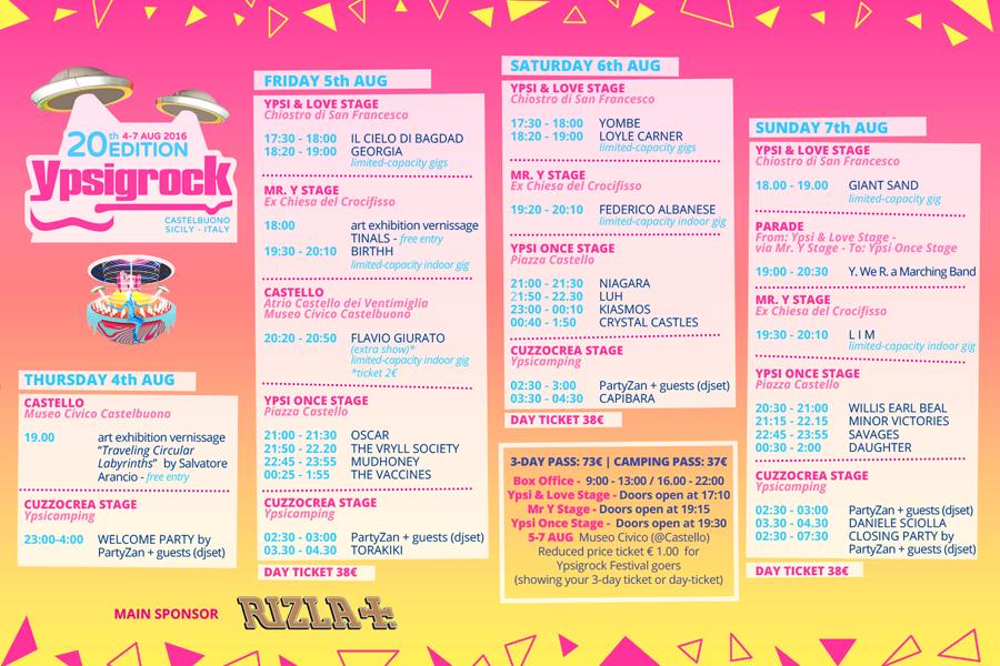 Timetable ufficiale della ventesima edizione di Ypsigrock