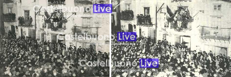 Foto 9-10  Al balcone di casa Russo alla Piazzetta parlano Vincenzo Carollo e l'on. Bernardo Mattarella (Foto Puccia).