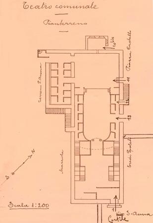 foto 3. La pianta del vecchio Teatro in un rilievo del 1940 (Gent. conc. Arch. Pierlucio Raimondi)