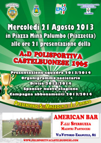 Mercoledì 21 agosto la presentazione ufficiale della Polisportiva Castelbuonese