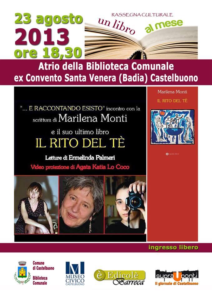 """Il 23 agosto la presentazione del libro """"Il rito del tè"""" di Marilena Monti"""
