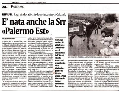 """Rifiuti: Il sindaco Tumminello eletto nel CdA della Srr """"Palermo Est"""""""