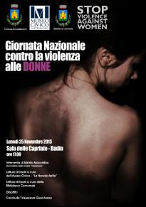 """Alla Sala delle Capriate la """"Giornata nazionale contro la violenza alle Donne"""""""