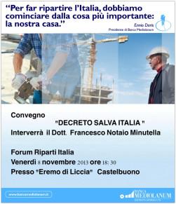 """All'Eremo di Liccia il convegno """"Decreto salva Italia"""""""