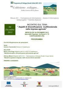 """S.O.A.T. di Castelbuono: incontro sul tema """"Aspetti di diversificazione multifunzionale nelle imprese agricole"""""""