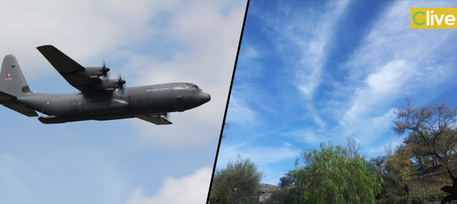 """Le """"Scie Chimiche"""" anche a Castelbuono. Un aereomobile C130 a bassa quota sulle campagne circostanti"""