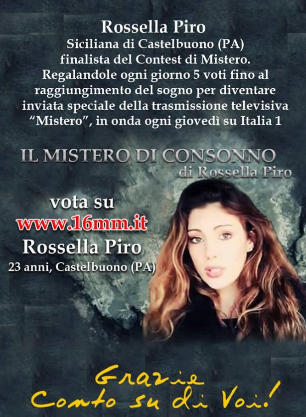 """L'Amministrazione Comunale: """"Sosteniamo la nostra giovane concittadina Rossella Piro al programma Mistero in onda su Italia 1"""""""