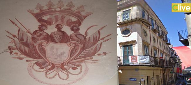 Il blasone della famiglia Turrisi Colonna. La foto scattata prima del restauro