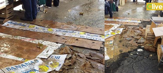 Rottura di una condotta idrica in via Mazzini, disagi al mercato del giovedì