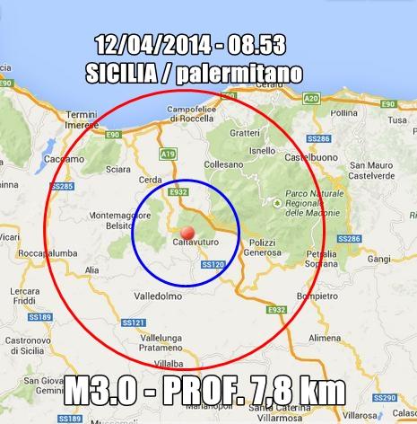 Tremano le Madonie: scossa avvertita fra Cerda, Collesano, Caltavuturo, Sclafani Bagni, Valledolmo
