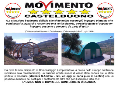 Il Movimento 5 Stelle incalza l'Amministrazione sull'Impianto di Compostaggio di contrada Cassanisa