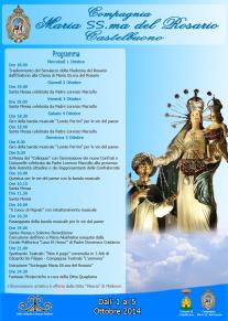 Dall'1 al 5 ottobre 2014: Programma dei festeggiamenti in onore di Maria SS.ma del Rosario