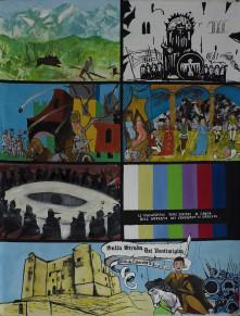 """Laboratorio Saccardi, """"Tra le strade dei Ventimiglia"""", cartellone dell'opera dei pupi, 2016 tecnica mista su tela, 220 x 160 cm"""