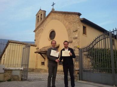 il Presidente dell'Ass.ne Culturale Promomadonie Jhonny Lagrua e il Sindaco di Subiaco Francesco Pelliccia